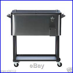 Stainless Steel Cooler On Wheels Patio Cart With Stand Portable Ice Chest