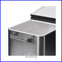Stainless Steel Cooler Rolling Outdoor Shelf Pool Party Patio Deck Beverage Ice