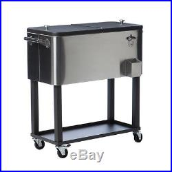 Stainless Steel Cooler with Shelf Patio Ice Chest Food Picnic Cart Drinks Pool