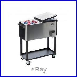 Stainless Steel Portable Beverage Cooler Outdoor Pool Patio Rolling Ice Chest