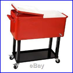 Steel Patio Party 65 Qt. Cooler Outdoor Rolling Cart Capicity Ice Chest Drain