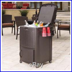 Suncart Resin Deck Cooler Outdoor Party Ice Chest Pool Rolling Cart Portable