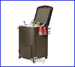 Suncast 77 qt Resin Wicker Rolling Chest Cooler with Cabinet Outdoor Storage Brown