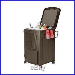 Suncast Large 77 Qt. 77 qt. Resin Wicker Cooler with Cabinet DCCW3000HD