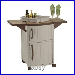 Suncast Patio Cabinet Serving Station Portable Outdoor Bar Carts Durable Resin