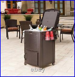 Suncast Quart Resin Wicker Patio Cooler Ice Box Cabinet & Basket- Outdoor/Pool