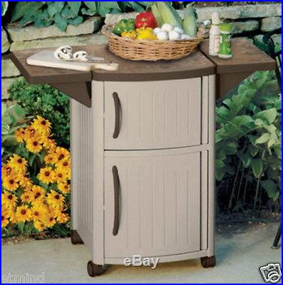 Suncast Serving Station Patio Cabinet Outdoor Deck Serve with Counter Space