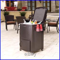 Suncast Wicker Cooler Outdoor Patio 77 qt Resin Ice Chest Cabinet Dark Brown