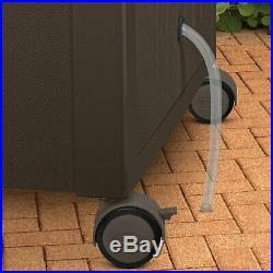 Suncast Wicker Patio Cooler Cart with Cabinet, DCCW3000