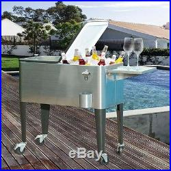 Sunjoy 80 qt. Stainless Steel Cooler Portable Cooling Chest for Lunch Insulated