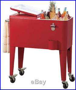 Sunjoy L-BC153PST Red 60 Quart Portable Rolling Patio Ice Chest Cooler Cart