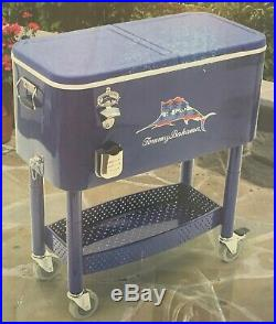 TOMMY BAHAMA 77 Qt. Rolling Party Cooler, Blue SHIPS FREE
