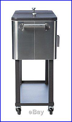 TRINITY 304 Grade STAINLESS STEEL COOLER, 80 Qt Standing Wheeled BEVERAGE COOLER