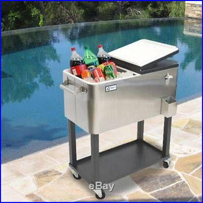 TRINITY Stainless Steel Beverage Cooler with Shelf