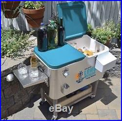 Tommy Bahama 100 Qt Stainless Steel Rolling Party Cooler 130 Can Capacity