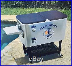 Tommy Bahama 100 Qt Stainless Steel Rolling Party Cooler Ice Chest & Serve Tray