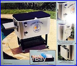 Tommy Bahama 100 Qt Stainless Steel Rolling Party Cooler Patio Beach Portable