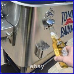 Tommy Bahama 100 Quart Stainless Steel Rolling Cooler Folding Side Shelf