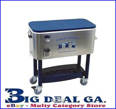 Tommy Bahama 77 Quart Stainless Steel Party Cooler w/ Storage Tray New