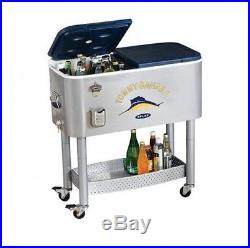 Tommy Bahama New Stainless Patio Rolling Cooler Ice Chest 77 Quart Pool Party