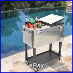 Trinity Patio Deck Cooler Rolling Outdoor 80 Quart Stainless Steel Home Party