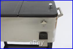 Trinity Stainless Steel Rolling Cooler 80 Quart Outdoor Patio Deck Home Party
