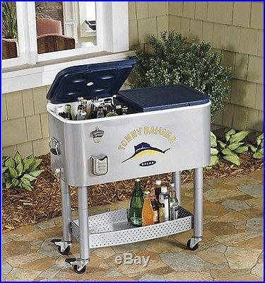 Tropical Look Tommy Bahama 77-Qt. Rolling Beverage Ice Cooler 2 Sided Outdoor
