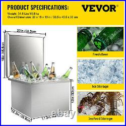 VEVOR Drop in Ice Bin Chest Drop in Cooler with Cover 20x18 inch Stainless Steel