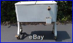 VINTAGE COOLER 80 QT ICE CHEST PATIO POOL DECK OUTDOOR MOBIL WHEELS