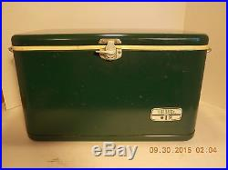 VINTAGE METAL COOLER GREEN ICE CHEST THERMOS BRAND HUNTING CAMPING PARTY RETRO