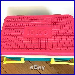 Vintage 90s IGLOO Picnic Basket Cooler Teal Pink Yellow Cooler Retro Water Jug