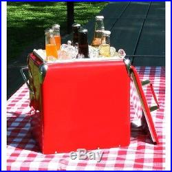 Vintage Cooler Ice Box Picnic Chest Classic Retro Style Red Bottles Metal Beach