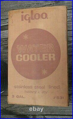 Vintage IGLOO 3 Gallon Galvanized Water Cooler Stainless Steel Lined IOB
