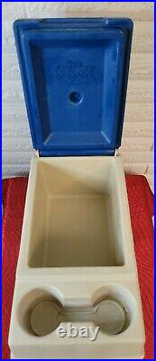 Vintage Igloo Little Kool Rest Car Cooler Console Ice Chest Cup Holder Blue Tan