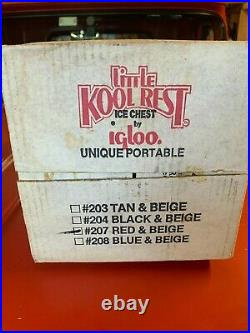Vintage Igloo Little Kool Rest Car Cooler Red Beige Console Ice Chest Cup Holder