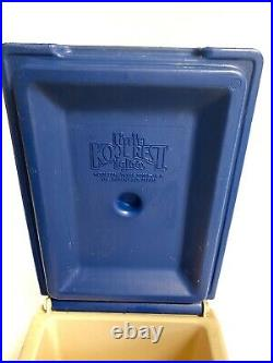 Vintage Igloo Little Kool Rest Car Cooler Tan Blue Console Ice Chest Cup Holder