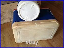 Vintage Metal Cooler Thermos SET Blue Red Ice Tray Jug One Gallon Plastic Spigot