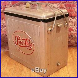 Vintage Pepsi-Cola Aluminum Cooler, Bottle Opener, 1940s 1950s