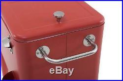 Vintage Rolling Cooler Beverage Cart Red Bottle Opener Towel Rack Retro Style