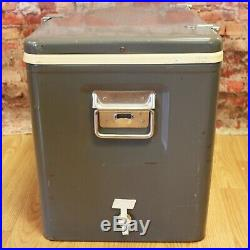 Vtg 1960s Coleman Diamond Cooler Ice Chest Gray Steel With Bottle Openers