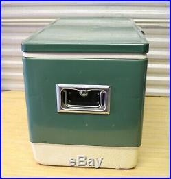 Vtg 1970s Green Coleman 56 Quart Snow-Lite Metal Cooler 22.5 w Bottle Openers