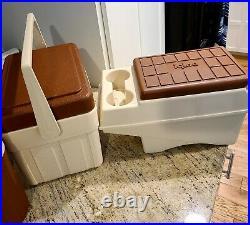 Vtg Little Kool Rest IGLOO Tan Console Cooler, Fiesta Ice Chest, & Drink Cooler