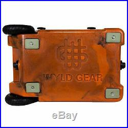 WYLD HC50-17OB 50 Qt. Dual Compartment Insulated Cooler with Wheels, Orange/Black