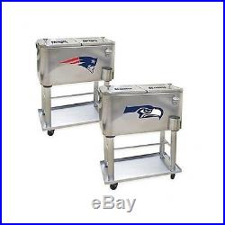 Wheeled Cooler Ice Chest Football Tailgating NFL Assorted Teams Stainless Steel