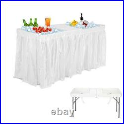 White Plastic 5' Folding Party Ice Cooler Drink Table Skirt Picnic Catering Bar