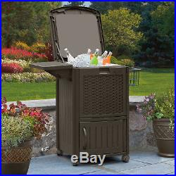 Wicker 72 Can Cooler Serving Cart Patio Outdoor Furniture 77 Quart Ice Chest