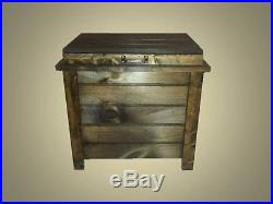 Wooden Ice Box Cooler Chest Deck Outdoor Furniture Wood Patio Man Cave Budweiser
