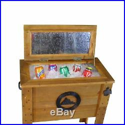 Wooden Outdoor Rustic Cooler Deck Patio Garden Ice Chests 45 Qt Drinks Storage